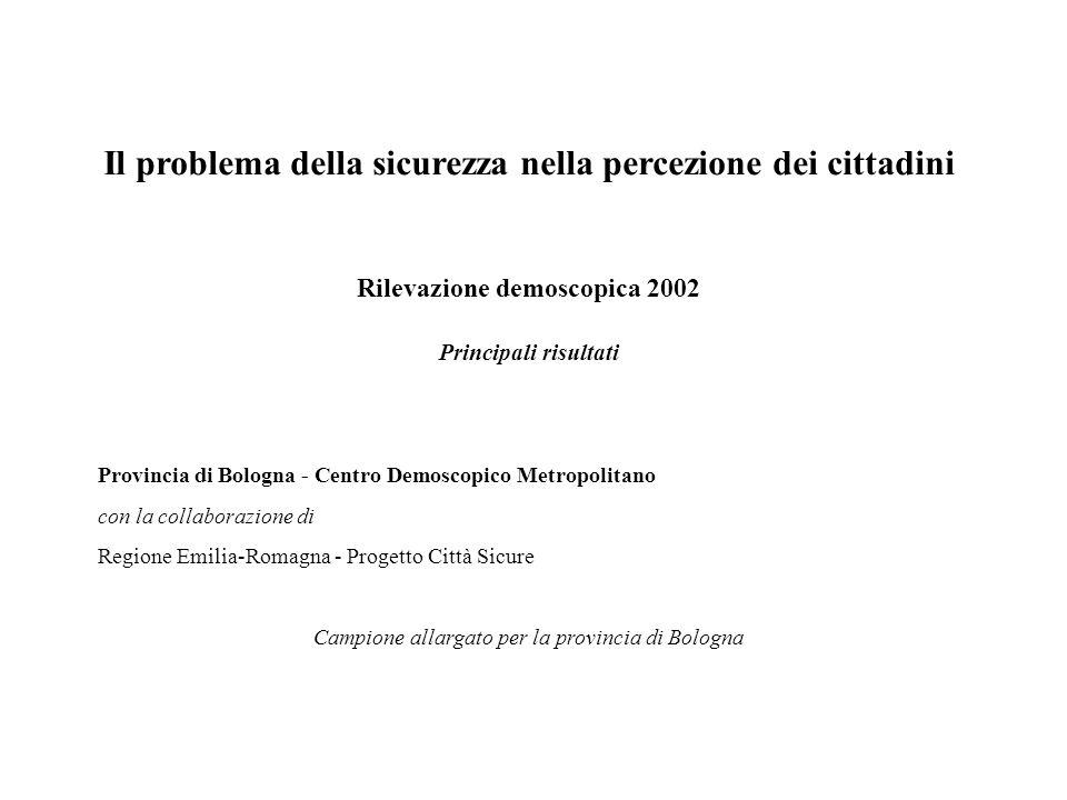 Il problema della sicurezza nella percezione dei cittadini Rilevazione demoscopica 2002 Principali risultati Provincia di Bologna - Centro Demoscopico