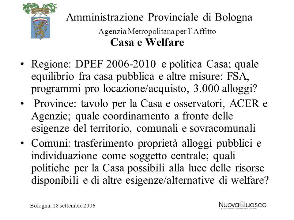 Amministrazione Provinciale di Bologna Agenzia Metropolitana per lAffitto Bologna, 18 settembre 2006 Casa e Welfare Regione: DPEF 2006-2010 e politica