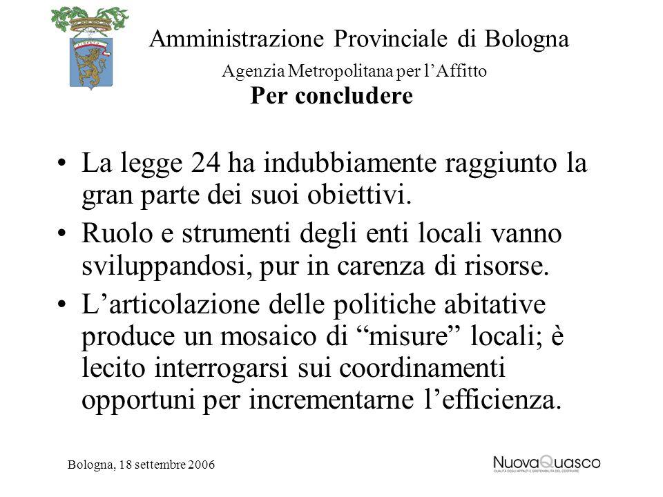 Amministrazione Provinciale di Bologna Agenzia Metropolitana per lAffitto Bologna, 18 settembre 2006 Per concludere La legge 24 ha indubbiamente raggi