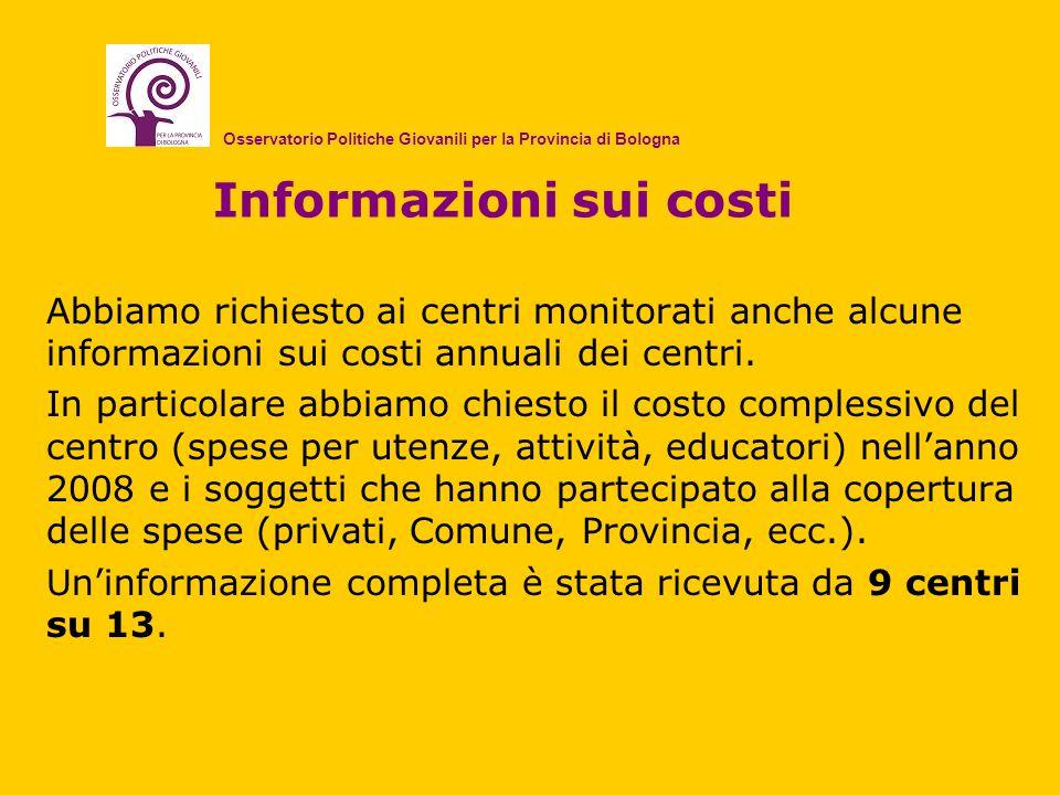Informazioni sui costi Abbiamo richiesto ai centri monitorati anche alcune informazioni sui costi annuali dei centri. In particolare abbiamo chiesto i