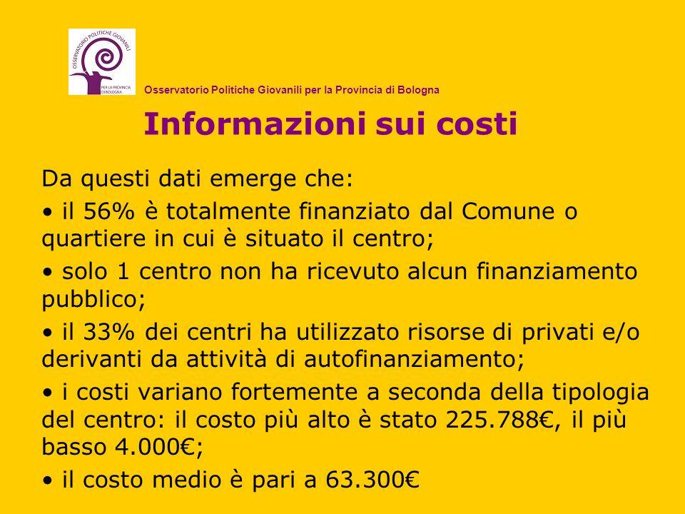 Informazioni sui costi Da questi dati emerge che: il 56% è totalmente finanziato dal Comune o quartiere in cui è situato il centro; solo 1 centro non