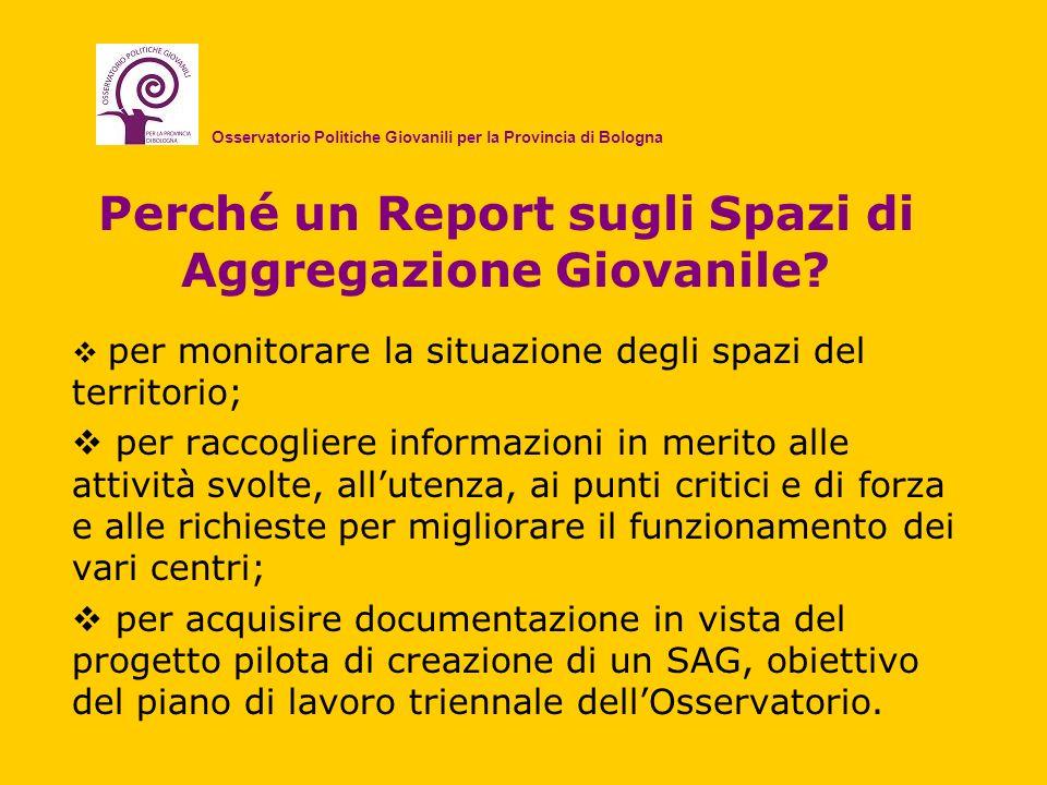Perché un Report sugli Spazi di Aggregazione Giovanile? per monitorare la situazione degli spazi del territorio; per raccogliere informazioni in merit