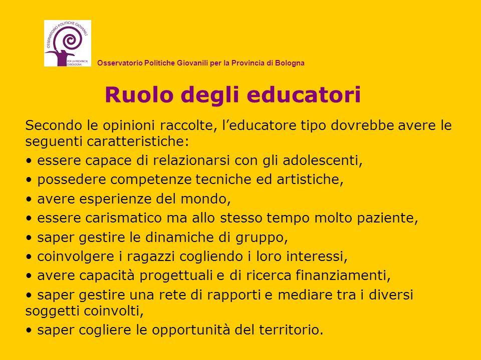 Ruolo degli educatori Secondo le opinioni raccolte, leducatore tipo dovrebbe avere le seguenti caratteristiche: essere capace di relazionarsi con gli