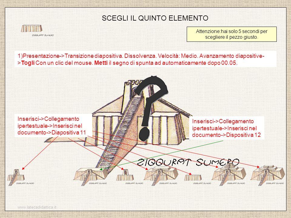 www.latecadidattica.it SCEGLI IL QUINTO ELEMENTO Attenzione:hai solo 5 secondi per scegliere il pezzo giusto. 1)Presentazione->Transizione diapositiva