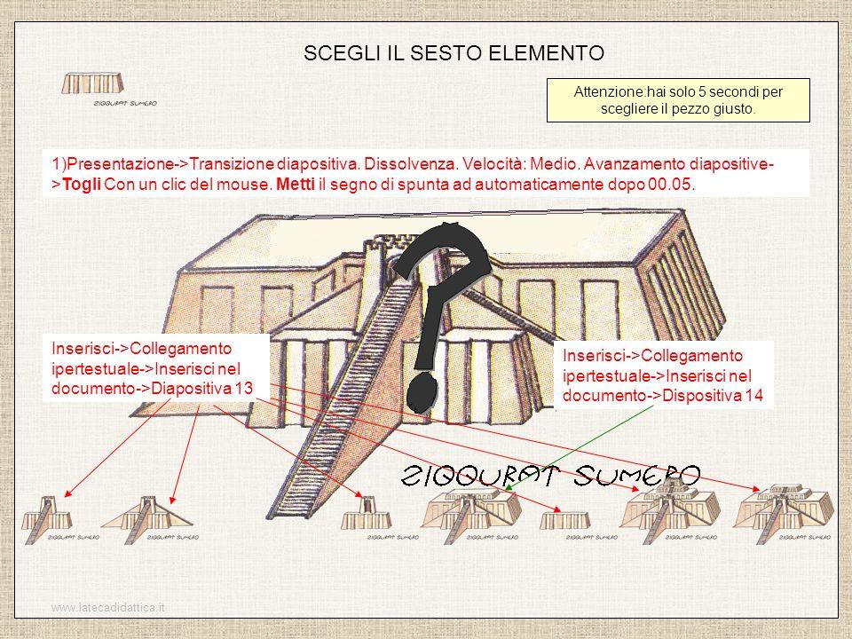 www.latecadidattica.it SCEGLI IL SESTO ELEMENTO Attenzione:hai solo 5 secondi per scegliere il pezzo giusto. 1)Presentazione->Transizione diapositiva.