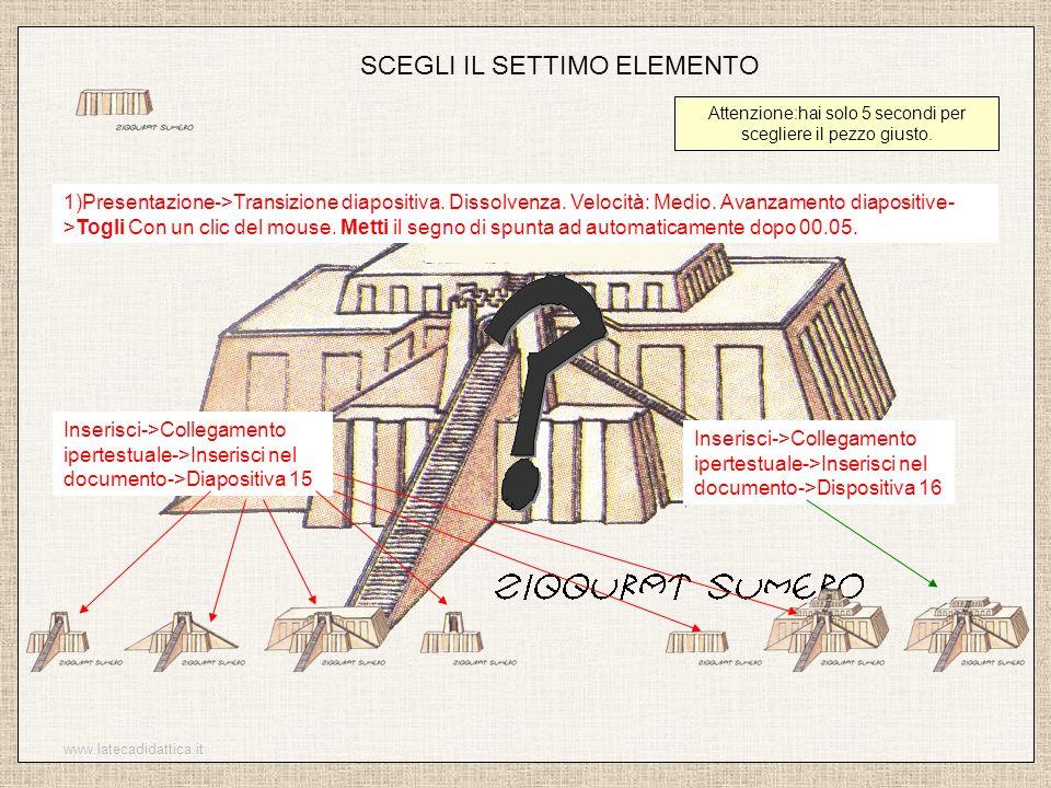 www.latecadidattica.it SCEGLI IL SETTIMO ELEMENTO Attenzione:hai solo 5 secondi per scegliere il pezzo giusto. 1)Presentazione->Transizione diapositiv