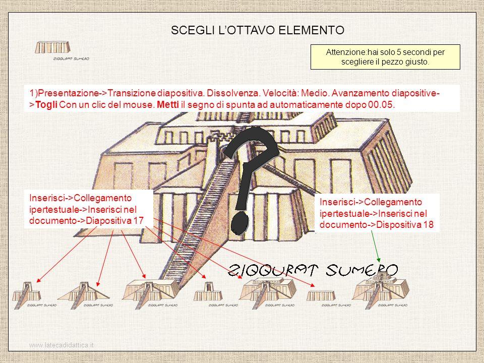 www.latecadidattica.it SCEGLI LOTTAVO ELEMENTO Attenzione:hai solo 5 secondi per scegliere il pezzo giusto. 1)Presentazione->Transizione diapositiva.