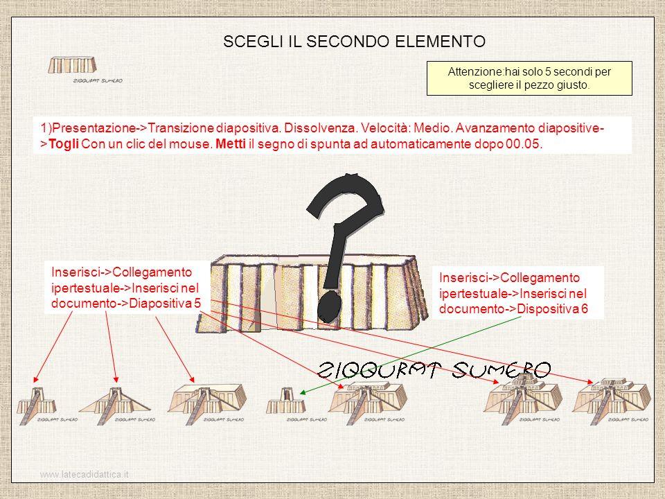 www.latecadidattica.it SCEGLI IL SECONDO ELEMENTO Attenzione:hai solo 5 secondi per scegliere il pezzo giusto. 1)Presentazione->Transizione diapositiv