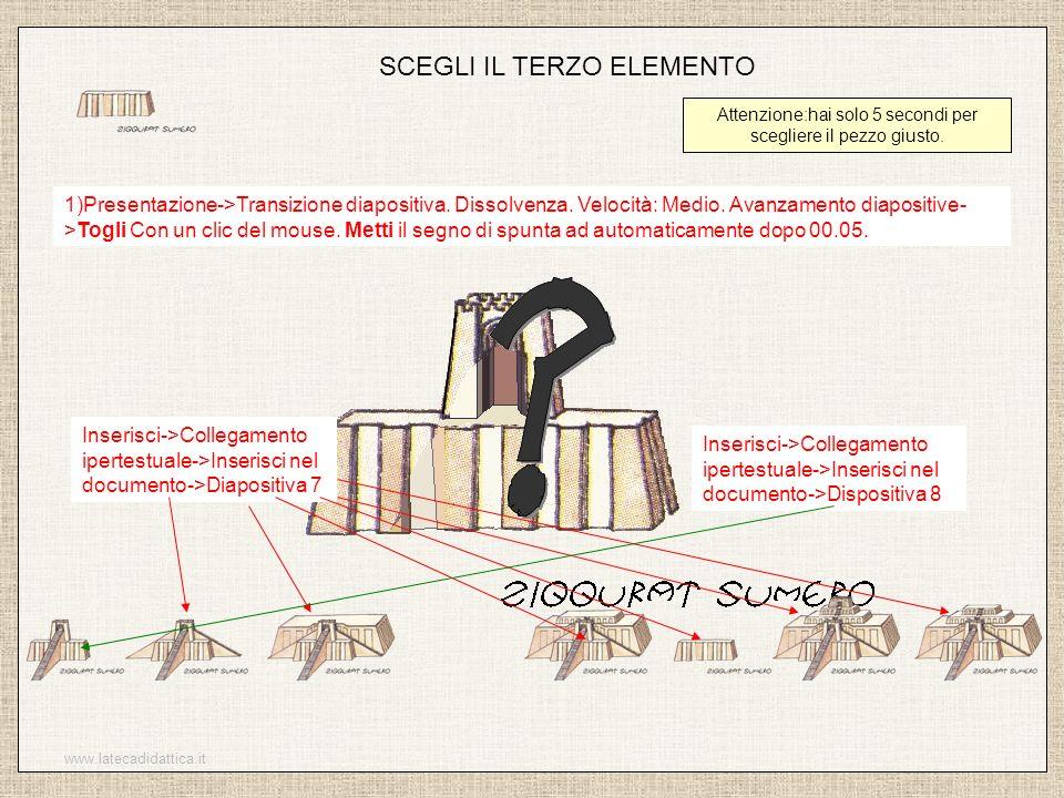 www.latecadidattica.it SCEGLI IL TERZO ELEMENTO Attenzione:hai solo 5 secondi per scegliere il pezzo giusto. 1)Presentazione->Transizione diapositiva.