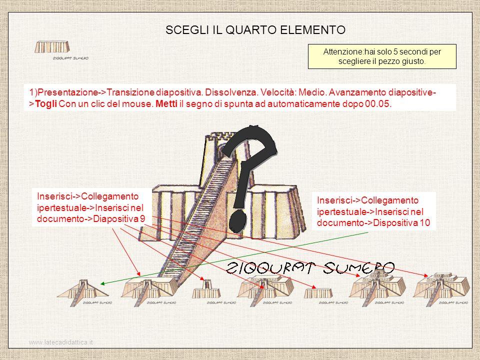www.latecadidattica.it SCEGLI IL QUARTO ELEMENTO Attenzione:hai solo 5 secondi per scegliere il pezzo giusto. 1)Presentazione->Transizione diapositiva