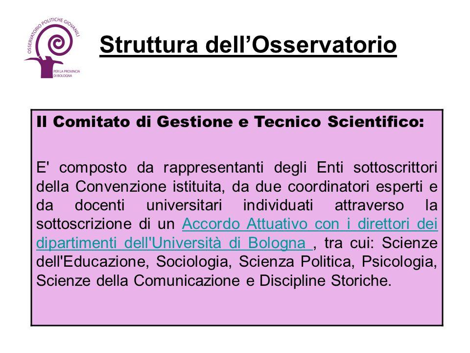 Struttura dellOsservatorio Il Comitato di Gestione e Tecnico Scientifico: E' composto da rappresentanti degli Enti sottoscrittori della Convenzione is