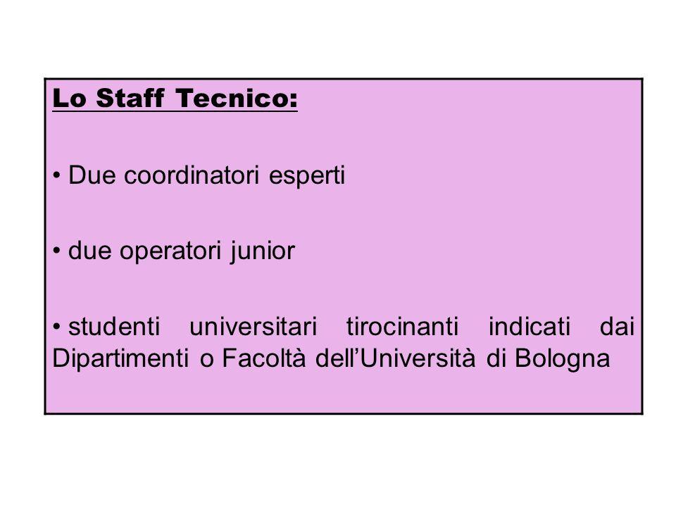 Lo Staff Tecnico: Due coordinatori esperti due operatori junior studenti universitari tirocinanti indicati dai Dipartimenti o Facoltà dellUniversità d