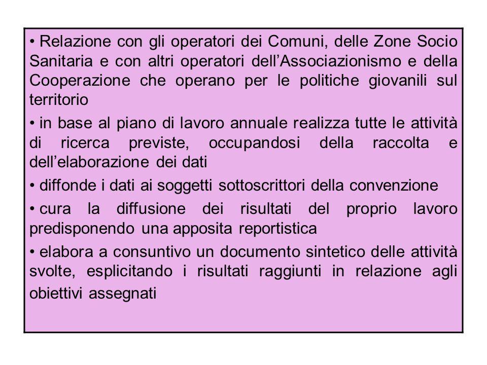 Relazione con gli operatori dei Comuni, delle Zone Socio Sanitaria e con altri operatori dellAssociazionismo e della Cooperazione che operano per le p