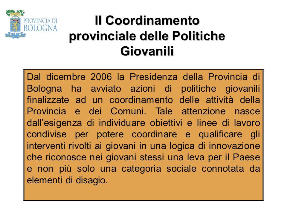 Il Coordinamento provinciale delle Politiche Giovanili Dal dicembre 2006 la Presidenza della Provincia di Bologna ha avviato azioni di politiche giova