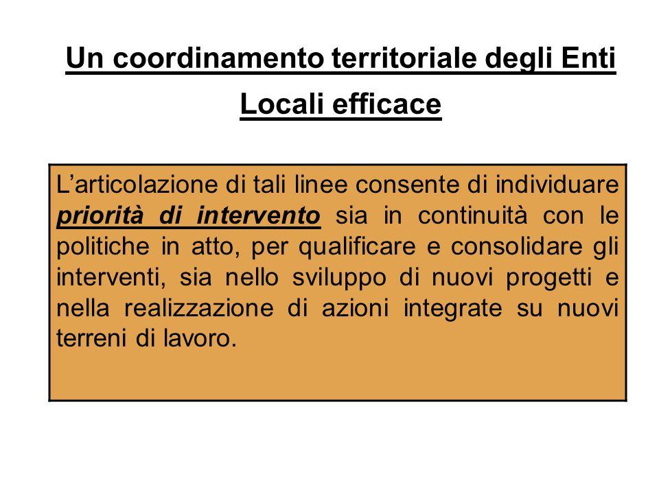 Un coordinamento territoriale degli Enti Locali efficace Larticolazione di tali linee consente di individuare priorità di intervento sia in continuità