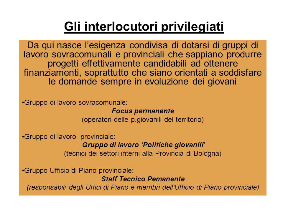 . Gli interlocutori privilegiati Da qui nasce lesigenza condivisa di dotarsi di gruppi di lavoro sovracomunali e provinciali che sappiano produrre pro