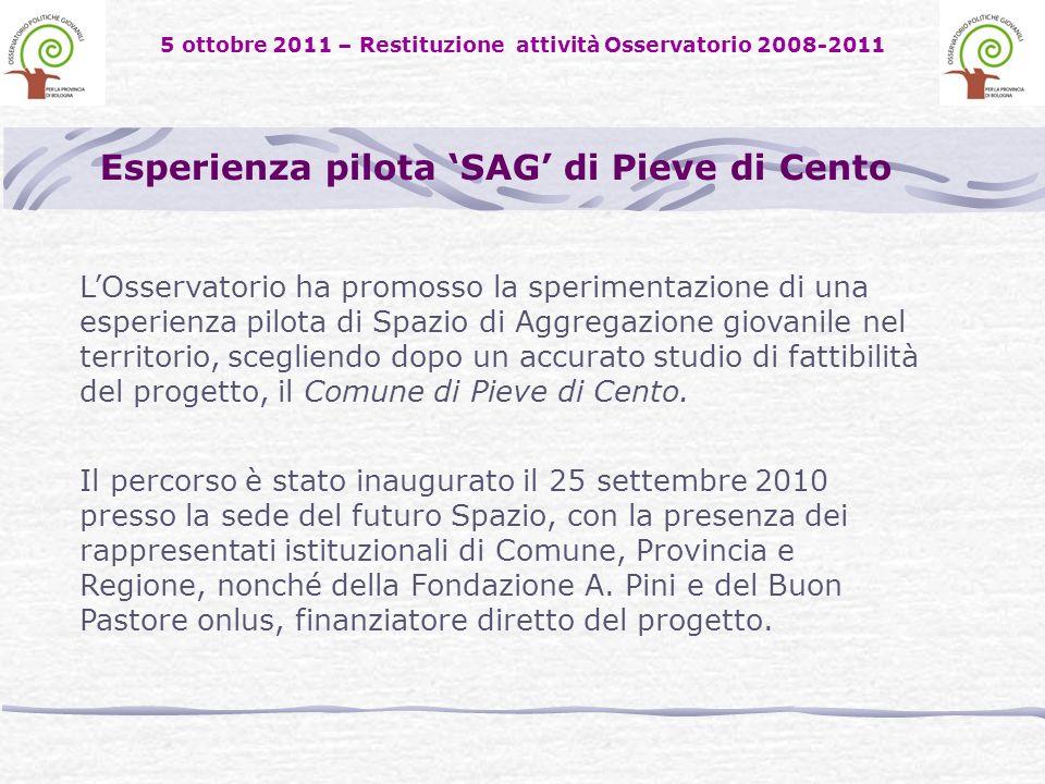 5 ottobre 2011 – Restituzione attività Osservatorio 2008-2011 LOsservatorio ha promosso la sperimentazione di una esperienza pilota di Spazio di Aggregazione giovanile nel territorio, scegliendo dopo un accurato studio di fattibilità del progetto, il Comune di Pieve di Cento.