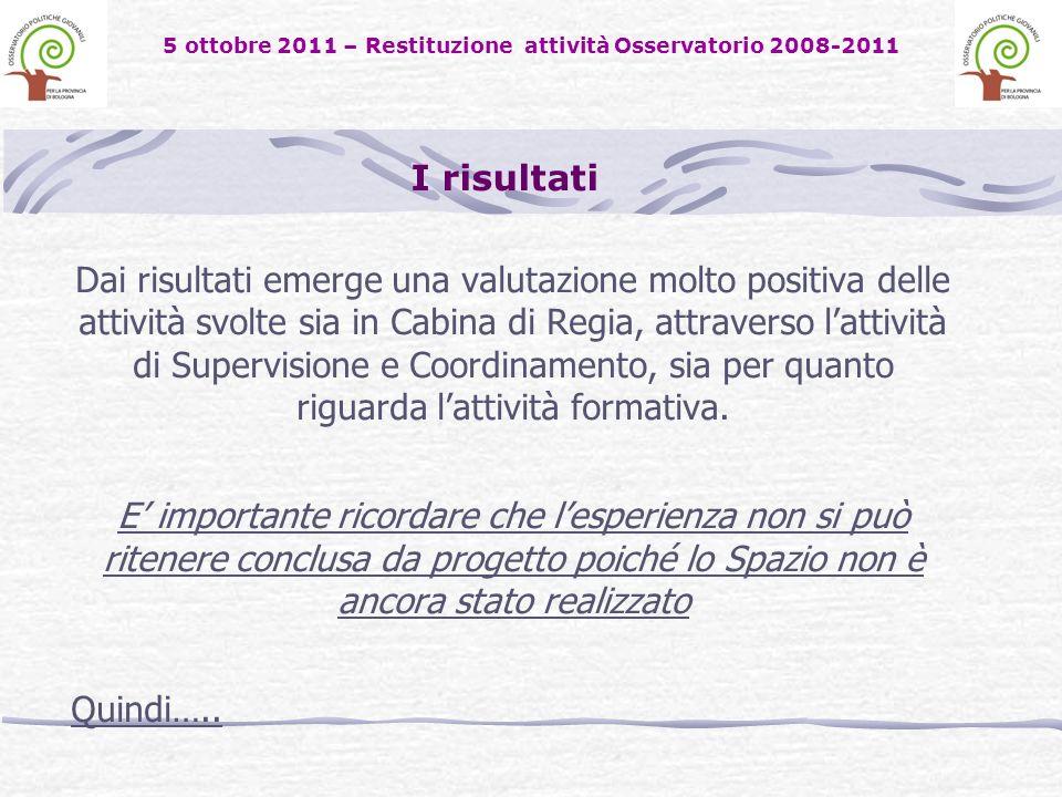 5 ottobre 2011 – Restituzione attività Osservatorio 2008-2011 Dai risultati emerge una valutazione molto positiva delle attività svolte sia in Cabina di Regia, attraverso lattività di Supervisione e Coordinamento, sia per quanto riguarda lattività formativa.