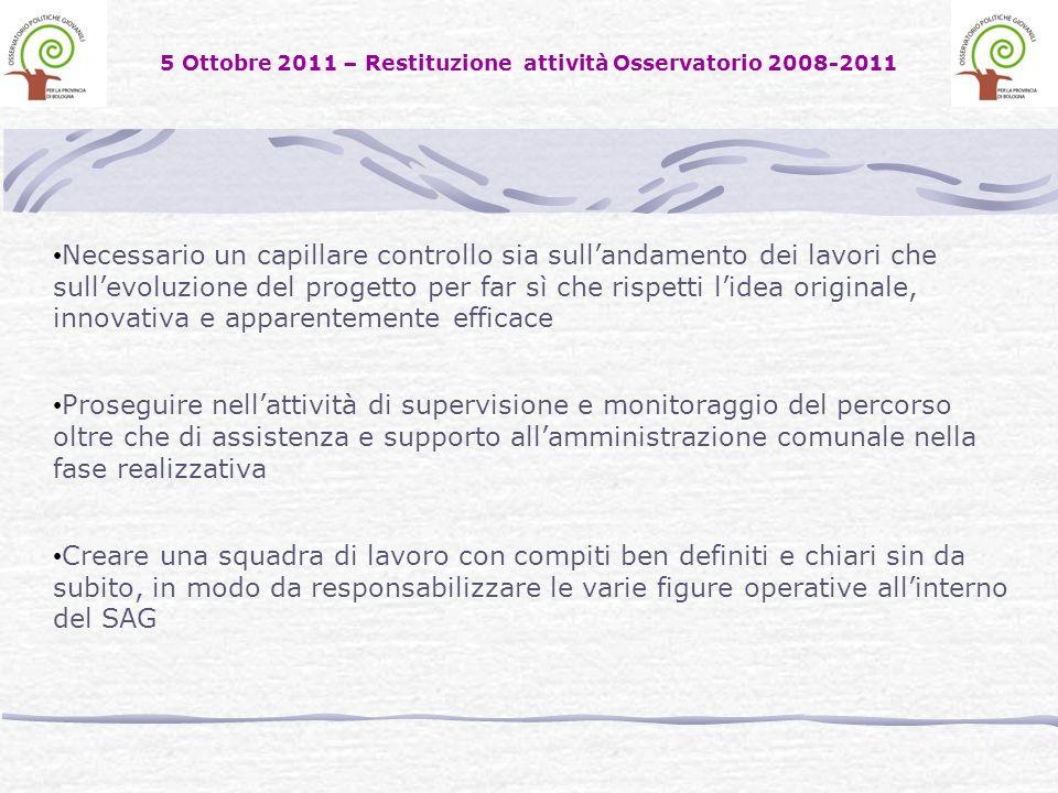 5 Ottobre 2011 – Restituzione attività Osservatorio 2008-2011 Necessario un capillare controllo sia sullandamento dei lavori che sullevoluzione del pr