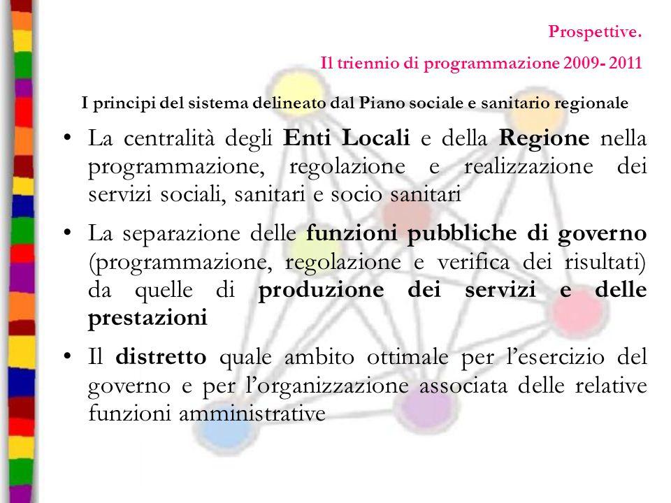 Prospettive. Il triennio di programmazione 2009- 2011 I principi del sistema delineato dal Piano sociale e sanitario regionale La centralità degli Ent