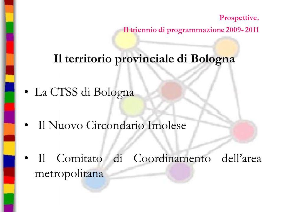 Prospettive. Il triennio di programmazione 2009- 2011 Il territorio provinciale di Bologna La CTSS di Bologna Il Nuovo Circondario Imolese Il Comitato