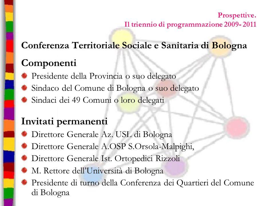 Prospettive. Il triennio di programmazione 2009- 2011 Conferenza Territoriale Sociale e Sanitaria di Bologna Componenti Presidente della Provincia o s
