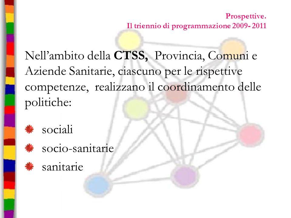 Prospettive. Il triennio di programmazione 2009- 2011 Nellambito della CTSS, Provincia, Comuni e Aziende Sanitarie, ciascuno per le rispettive compete