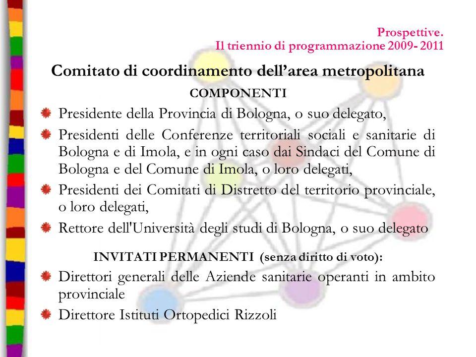 Prospettive. Il triennio di programmazione 2009- 2011 Comitato di coordinamento dellarea metropolitana COMPONENTI Presidente della Provincia di Bologn