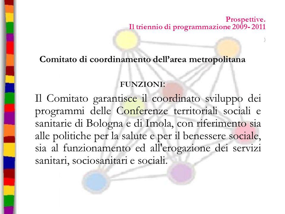 Prospettive. Il triennio di programmazione 2009- 2011 ) Comitato di coordinamento dellarea metropolitana FUNZIONI : Il Comitato garantisce il coordina