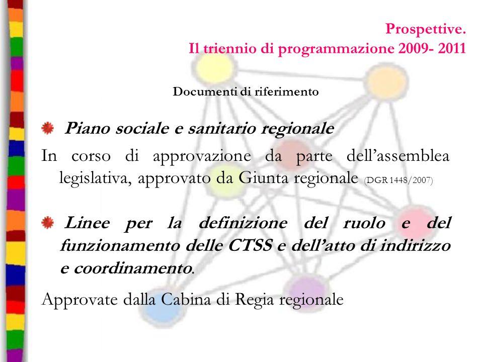 Documenti di riferimento Piano sociale e sanitario regionale In corso di approvazione da parte dellassemblea legislativa, approvato da Giunta regional