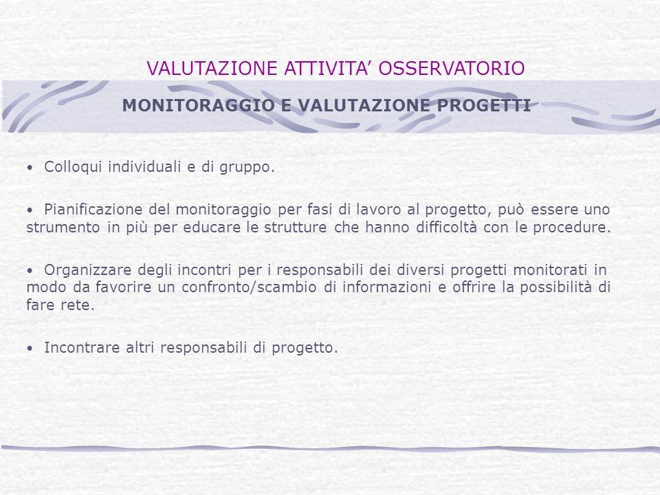 VALUTAZIONE ATTIVITA OSSERVATORIO Colloqui individuali e di gruppo.
