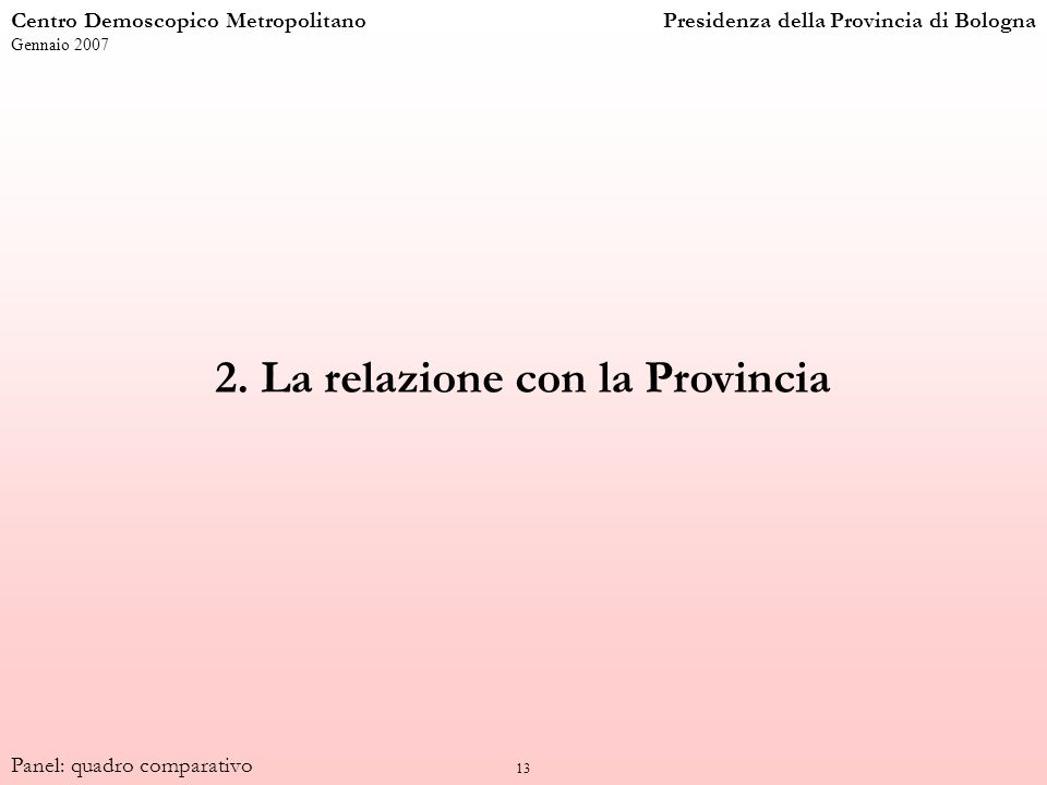 13 2. La relazione con la Provincia Centro Demoscopico MetropolitanoPresidenza della Provincia di Bologna Gennaio 2007 Panel: quadro comparativo