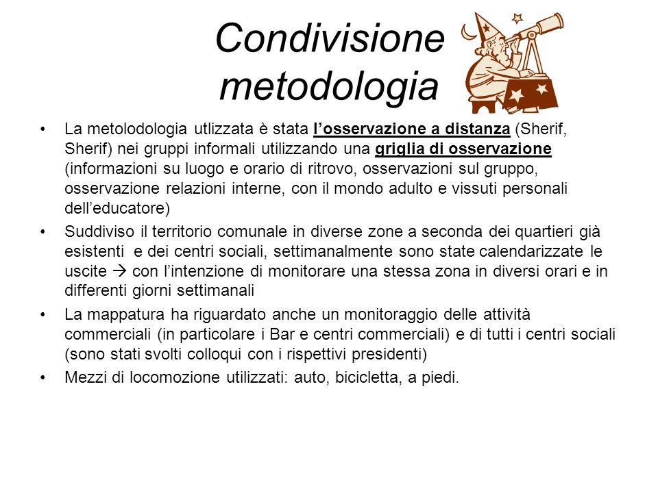 Condivisione metodologia La metolodologia utlizzata è stata losservazione a distanza (Sherif, Sherif) nei gruppi informali utilizzando una griglia di