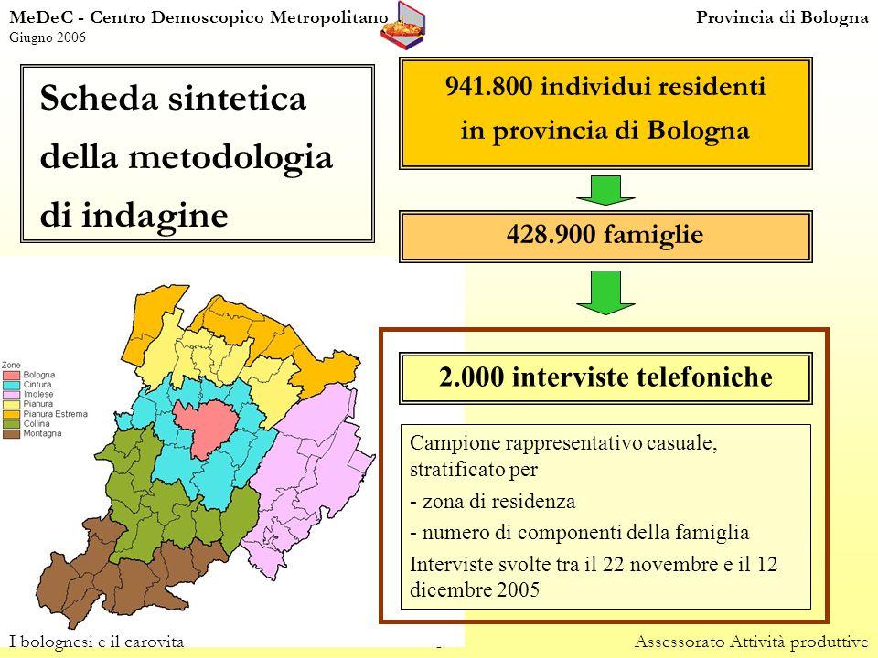 2 MeDeC - Centro Demoscopico MetropolitanoProvincia di Bologna Giugno 2006 941.800 individui residenti in provincia di Bologna 428.900 famiglie 2.000