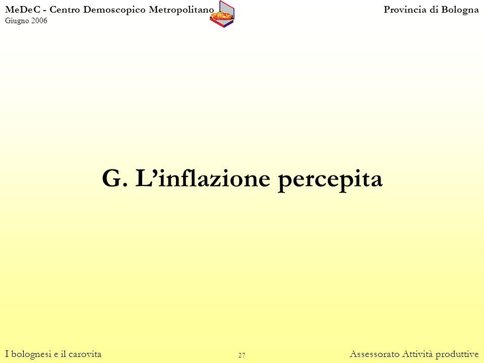 27 G. Linflazione percepita I bolognesi e il carovitaAssessorato Attività produttive MeDeC - Centro Demoscopico MetropolitanoProvincia di Bologna Giug