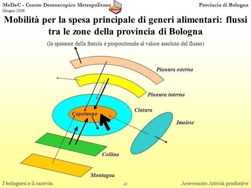 45 Mobilità per la spesa principale di generi alimentari: flussi tra le zone della provincia di Bologna (lo spessore della freccia è proporzionale al