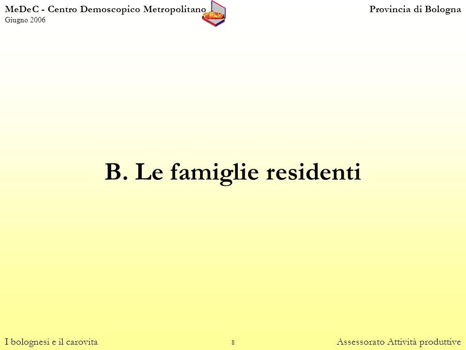 8 B. Le famiglie residenti I bolognesi e il carovitaAssessorato Attività produttive MeDeC - Centro Demoscopico MetropolitanoProvincia di Bologna Giugn