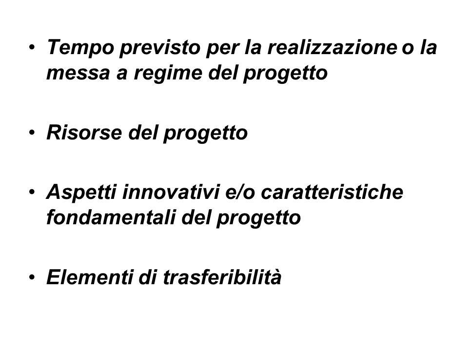 Tempo previsto per la realizzazione o la messa a regime del progetto Risorse del progetto Aspetti innovativi e/o caratteristiche fondamentali del progetto Elementi di trasferibilità