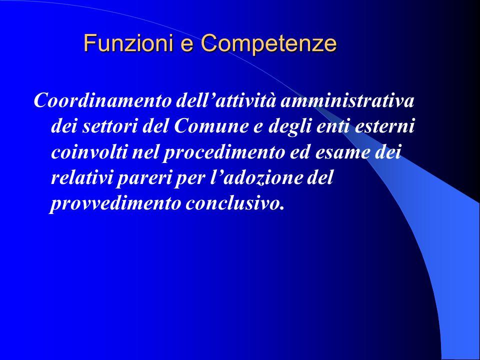 Funzioni e Competenze Coordinamento dellattività amministrativa dei settori del Comune e degli enti esterni coinvolti nel procedimento ed esame dei relativi pareri per ladozione del provvedimento conclusivo.