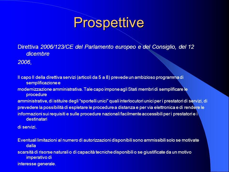 Prospettive Direttiva 2006/123/CE del Parlamento europeo e del Consiglio, del 12 dicembre 2006, Il capo II della direttiva servizi (articoli da 5 a 8) prevede un ambizioso programma di semplificazione e modernizzazione amministrativa.