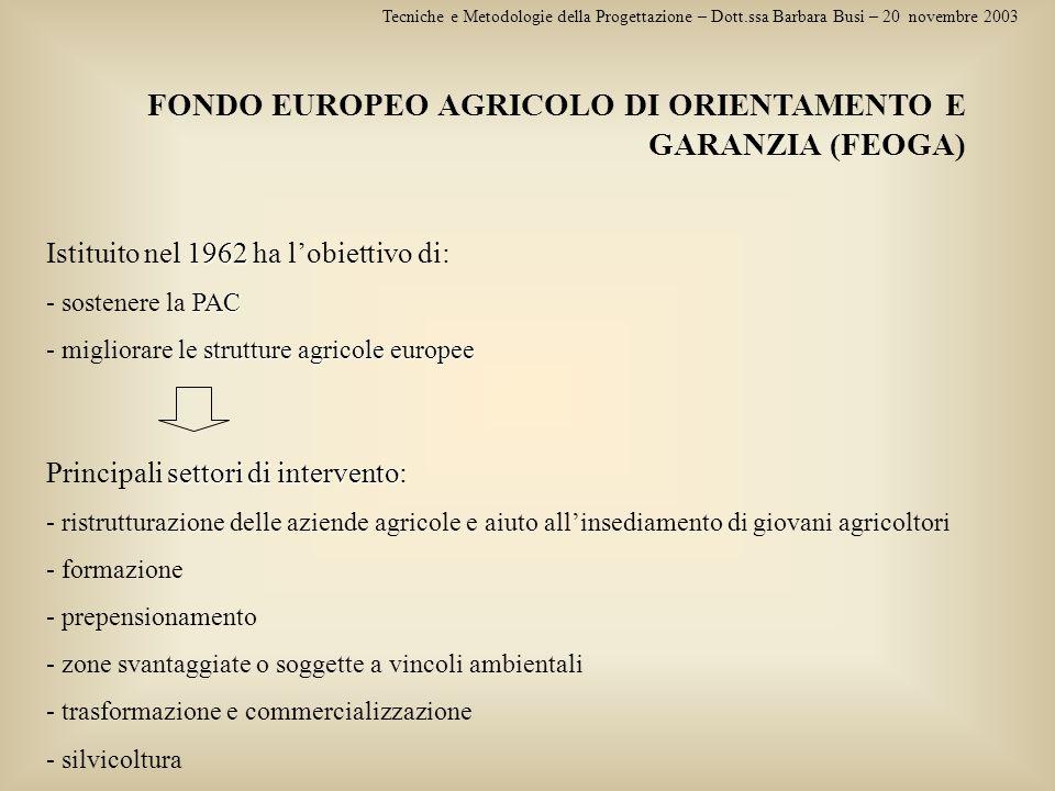 FONDO EUROPEO AGRICOLO DI ORIENTAMENTO E GARANZIA (FEOGA) Tecniche e Metodologie della Progettazione – Dott.ssa Barbara Busi – 20 novembre 2003 1962 I