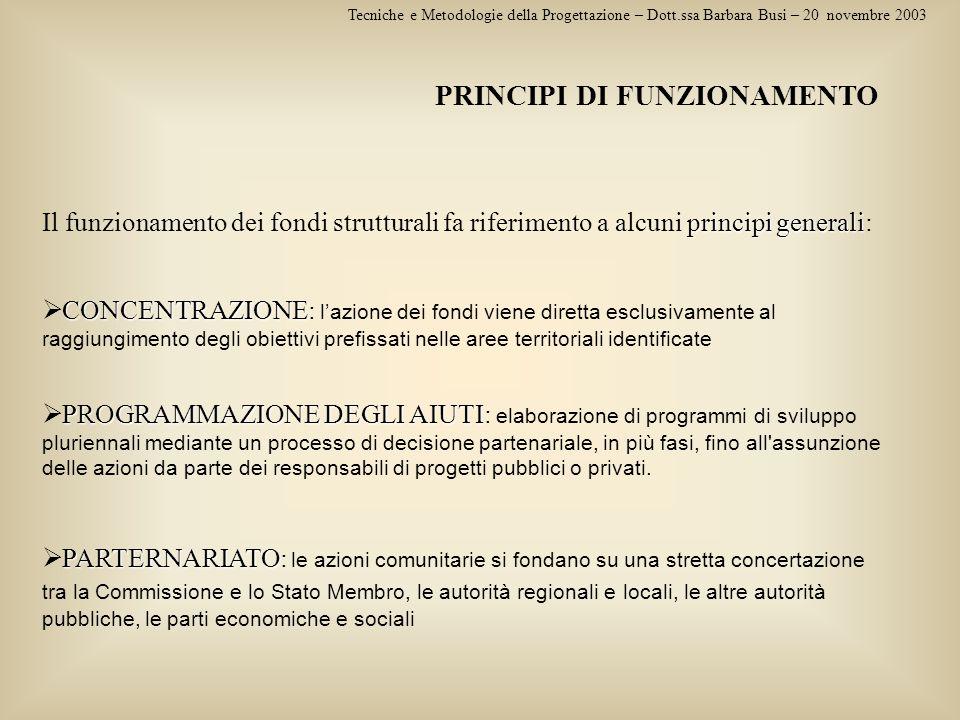PRINCIPI DI FUNZIONAMENTO Tecniche e Metodologie della Progettazione – Dott.ssa Barbara Busi – 20 novembre 2003 principi generali Il funzionamento dei