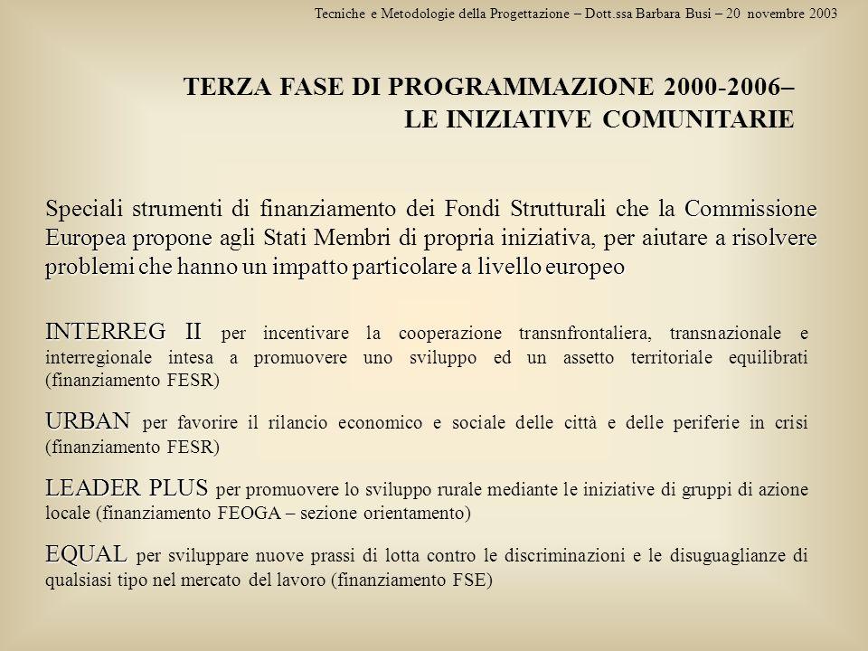 Tecniche e Metodologie della Progettazione – Dott.ssa Barbara Busi – 20 novembre 2003 TERZA FASE DI PROGRAMMAZIONE 2000-2006– LE INIZIATIVE COMUNITARI