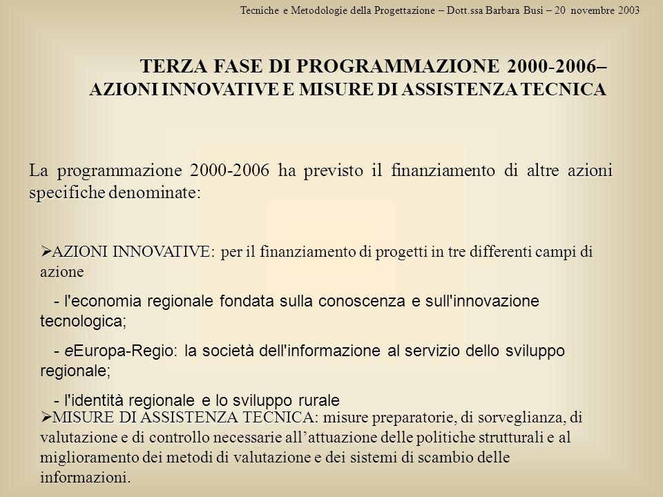 Tecniche e Metodologie della Progettazione – Dott.ssa Barbara Busi – 20 novembre 2003 TERZA FASE DI PROGRAMMAZIONE 2000-2006– AZIONI INNOVATIVE E MISU