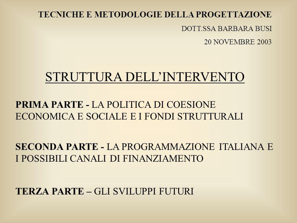 Tecniche e Metodologie della Progettazione – Dott.ssa Barbara Busi – 20 novembre 2003 LE AREE OBIETTIVO IN ITALIA