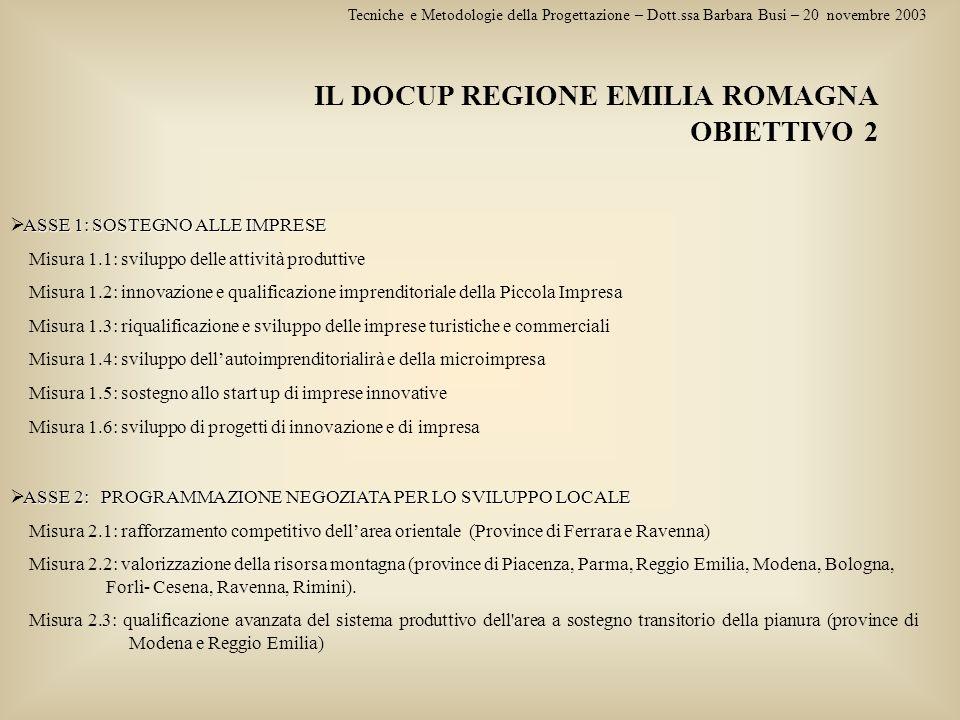 Tecniche e Metodologie della Progettazione – Dott.ssa Barbara Busi – 20 novembre 2003 IL DOCUP REGIONE EMILIA ROMAGNA OBIETTIVO 2 ASSE 1: SOSTEGNO ALL