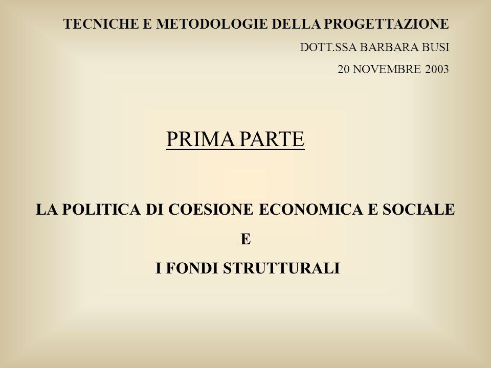 Tecniche e Metodologie della Progettazione – Dott.ssa Barbara Busi – 20 novembre 2003 LE AREE OBIETTIVO NELLA REGIONE EMILIA ROMAGNA