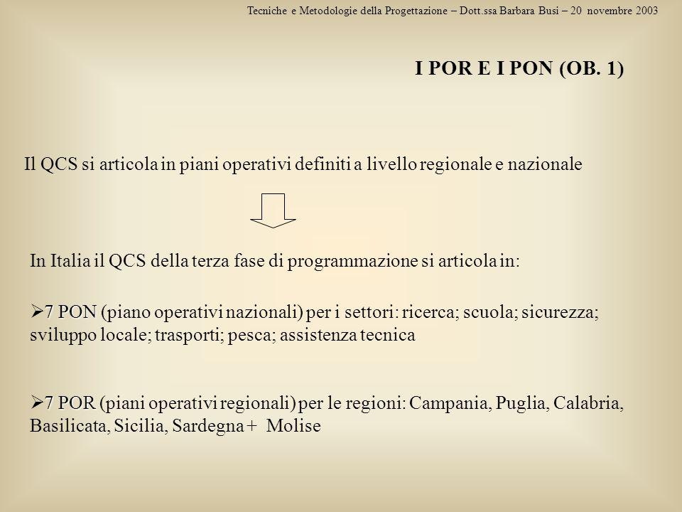 Tecniche e Metodologie della Progettazione – Dott.ssa Barbara Busi – 20 novembre 2003 I POR E I PON (OB. 1) Il QCS si articola in piani operativi defi