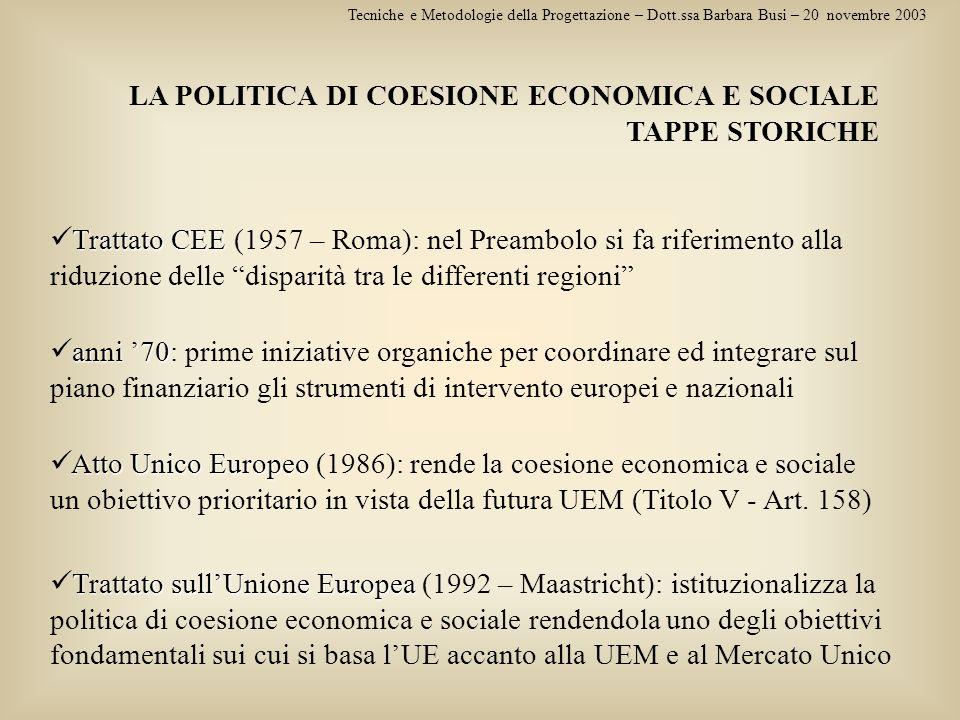 LA POLITICA DI COESIONE ECONOMICA E SOCIALE TAPPE STORICHE Tecniche e Metodologie della Progettazione – Dott.ssa Barbara Busi – 20 novembre 2003 Tratt