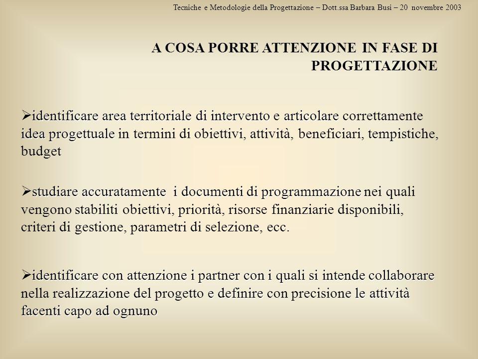 Tecniche e Metodologie della Progettazione – Dott.ssa Barbara Busi – 20 novembre 2003 A COSA PORRE ATTENZIONE IN FASE DI PROGETTAZIONE studiare accura